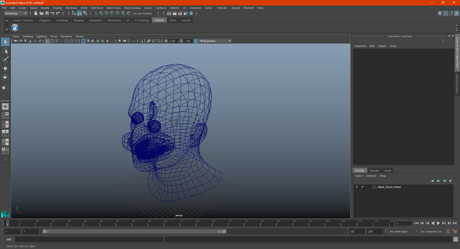 Bald Clown Head royalty-free 3d model - Preview no. 13