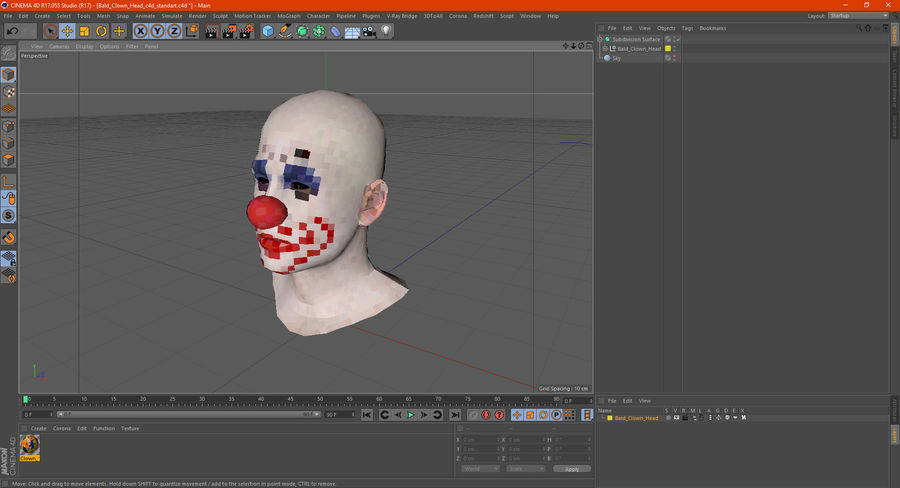 Bald Clown Head royalty-free 3d model - Preview no. 10