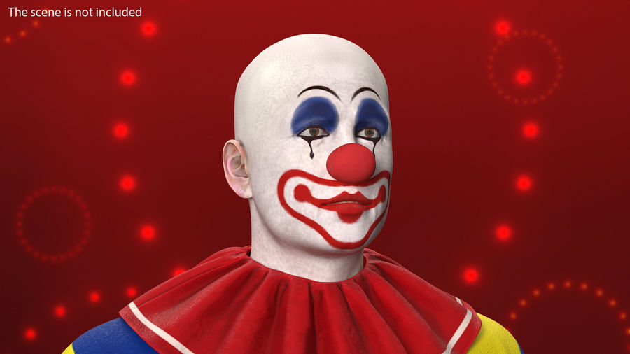 Bald Clown Head royalty-free 3d model - Preview no. 3