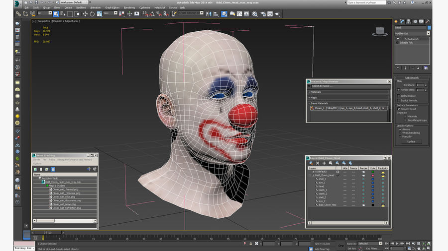 Bald Clown Head royalty-free 3d model - Preview no. 14