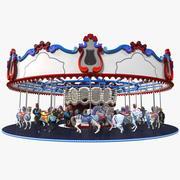 Parkera karusell med hästar 3d model