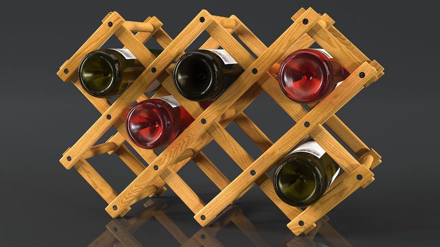 Scaffale pieghevole in legno con bottiglie di vino royalty-free 3d model - Preview no. 8