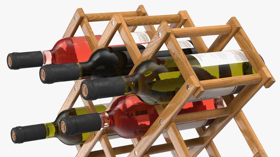 Scaffale pieghevole in legno con bottiglie di vino royalty-free 3d model - Preview no. 12