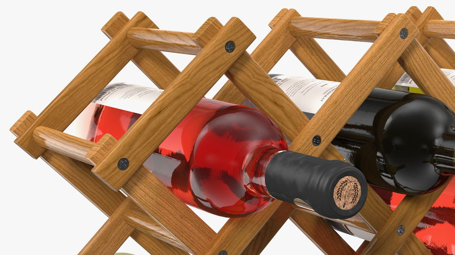 Scaffale pieghevole in legno con bottiglie di vino royalty-free 3d model - Preview no. 13