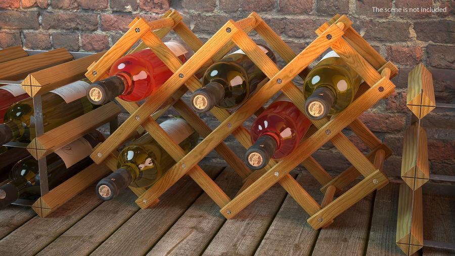 Scaffale pieghevole in legno con bottiglie di vino royalty-free 3d model - Preview no. 3