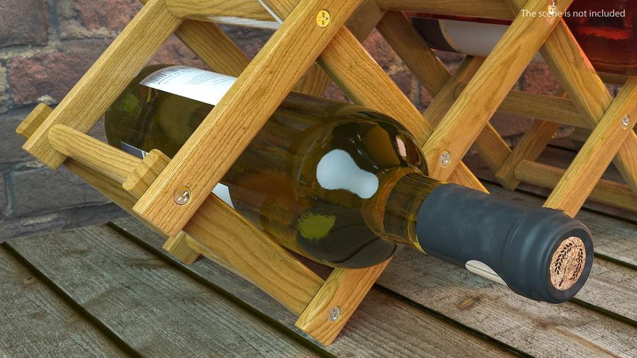 Scaffale pieghevole in legno con bottiglie di vino royalty-free 3d model - Preview no. 5