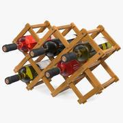 Scaffale pieghevole in legno con bottiglie di vino 3d model