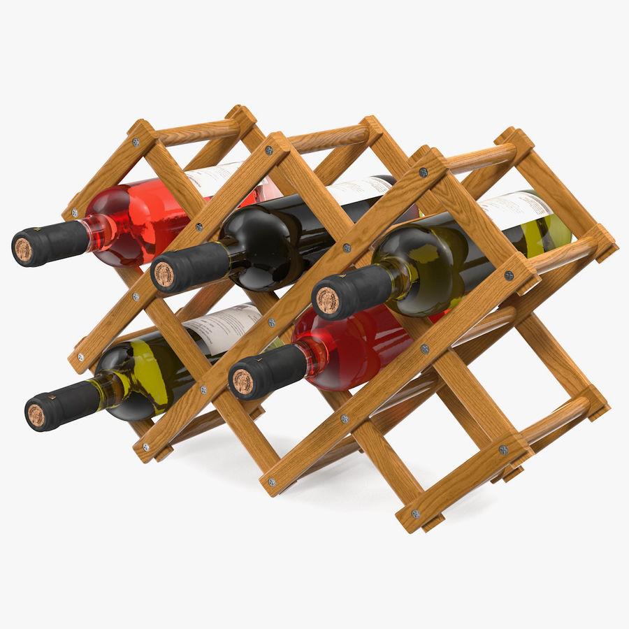 Scaffale pieghevole in legno con bottiglie di vino royalty-free 3d model - Preview no. 1