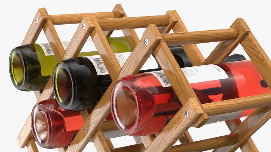 Scaffale pieghevole in legno con bottiglie di vino royalty-free 3d model - Preview no. 14
