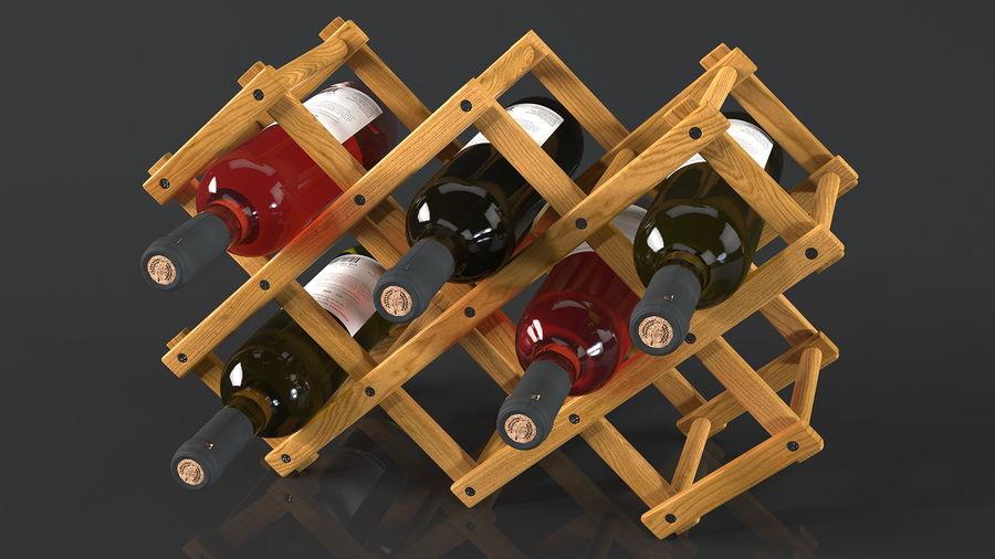 Scaffale pieghevole in legno con bottiglie di vino royalty-free 3d model - Preview no. 7