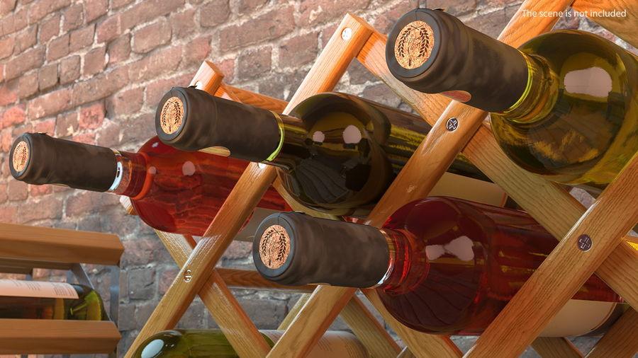 Scaffale pieghevole in legno con bottiglie di vino royalty-free 3d model - Preview no. 4