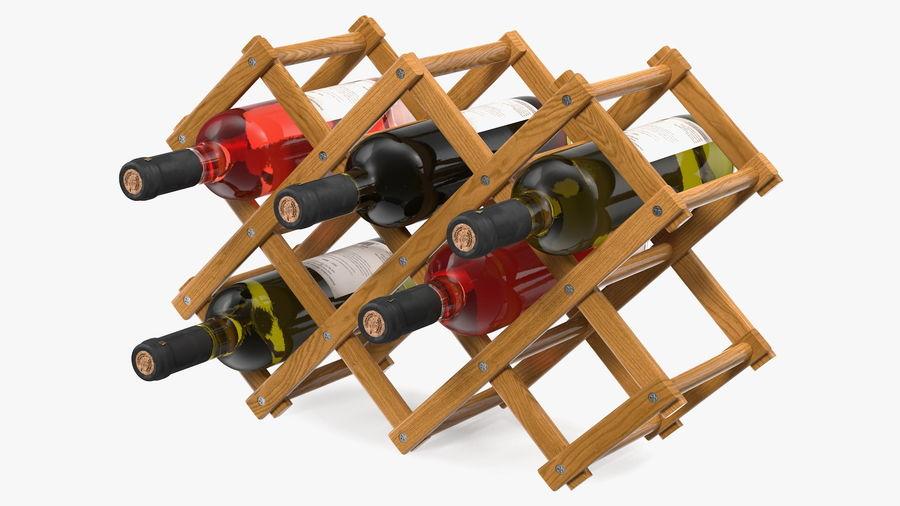 Scaffale pieghevole in legno con bottiglie di vino royalty-free 3d model - Preview no. 2