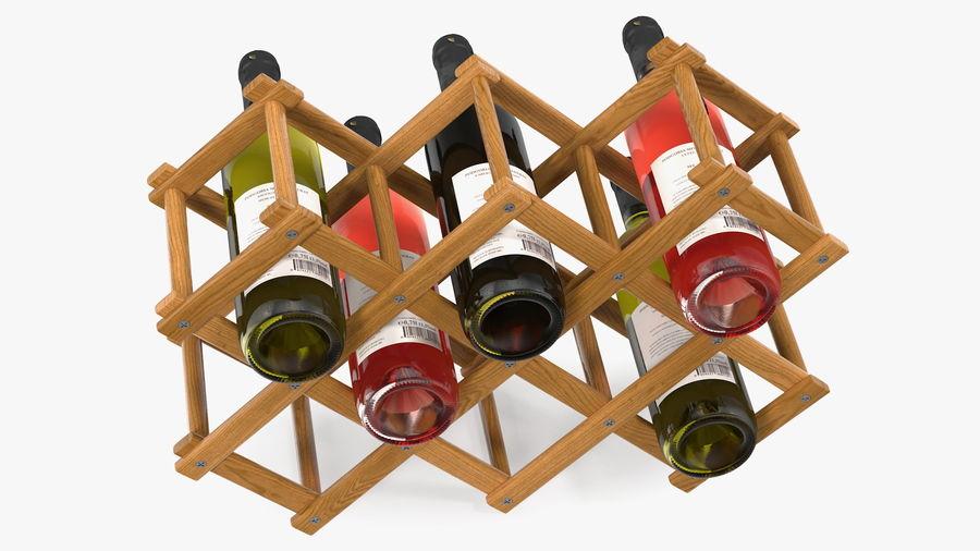 Scaffale pieghevole in legno con bottiglie di vino royalty-free 3d model - Preview no. 10