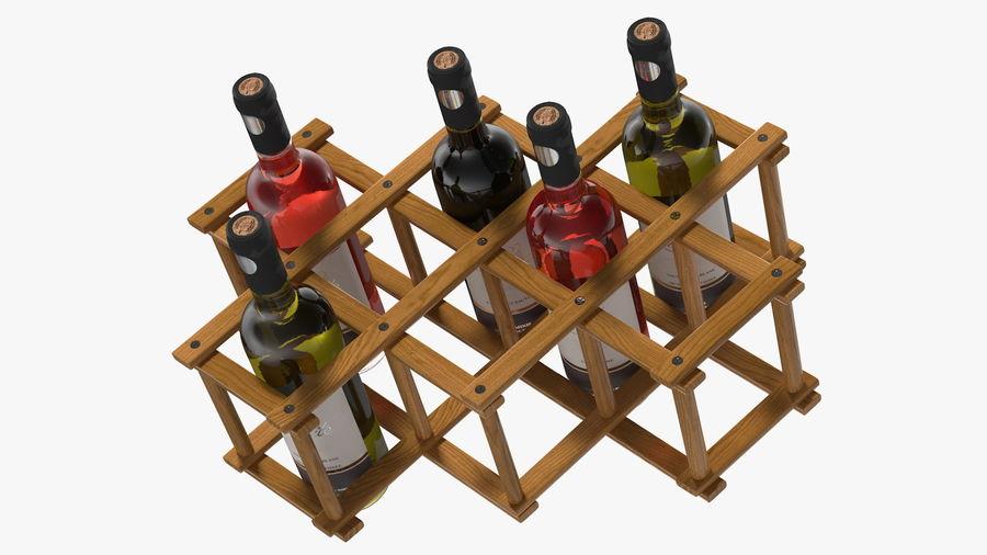 Scaffale pieghevole in legno con bottiglie di vino royalty-free 3d model - Preview no. 11