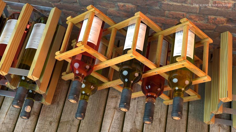 Scaffale pieghevole in legno con bottiglie di vino royalty-free 3d model - Preview no. 6