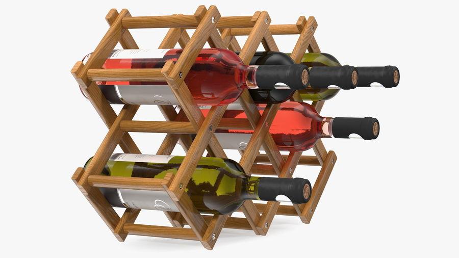 Scaffale pieghevole in legno con bottiglie di vino royalty-free 3d model - Preview no. 9