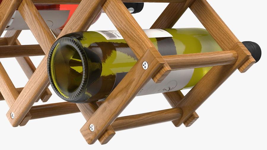 Scaffale pieghevole in legno con bottiglie di vino royalty-free 3d model - Preview no. 15