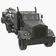 带主战坦克的坦克运输拖拉机 3d model