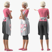 マヤのために装備されたキッチンエプロンを身に着けている高齢者の女性 3d model