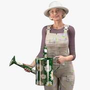 Mulher Idosa Farmer Rigged 3d model