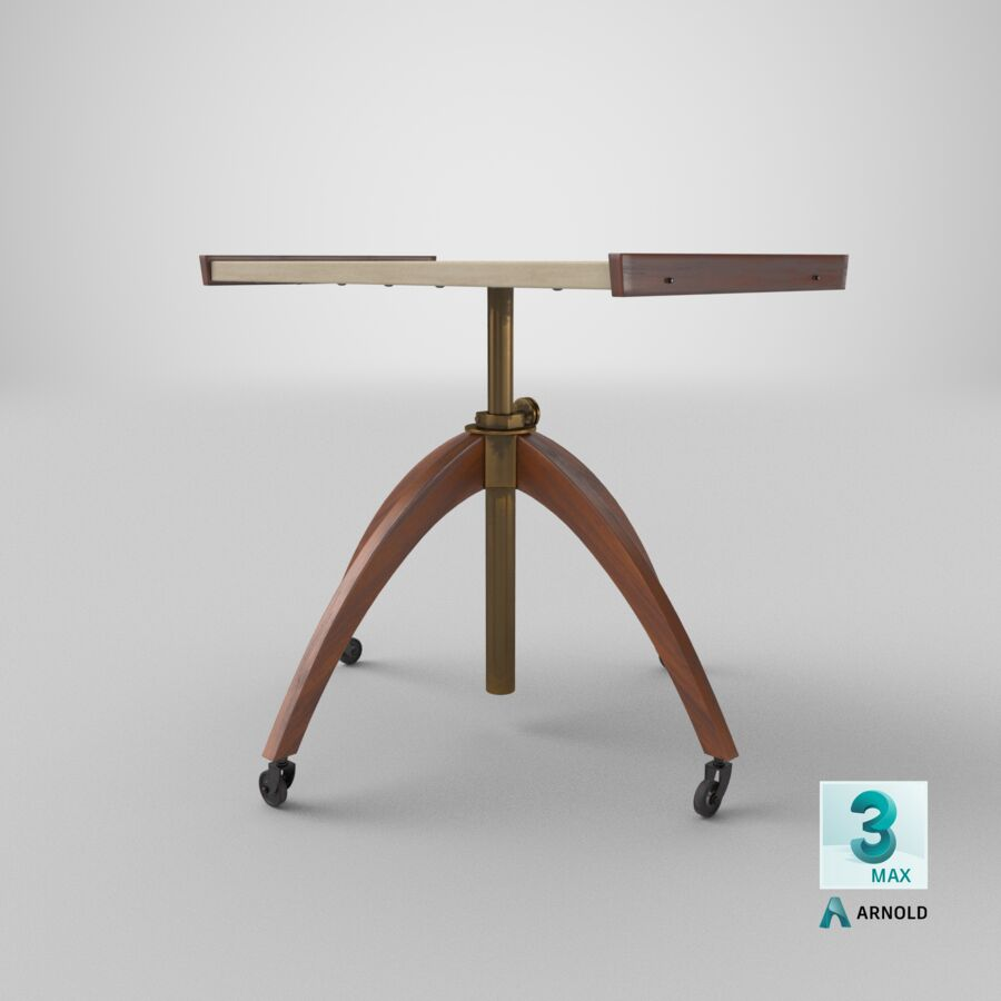 Vintage Adjustable TV Stand royalty-free 3d model - Preview no. 23