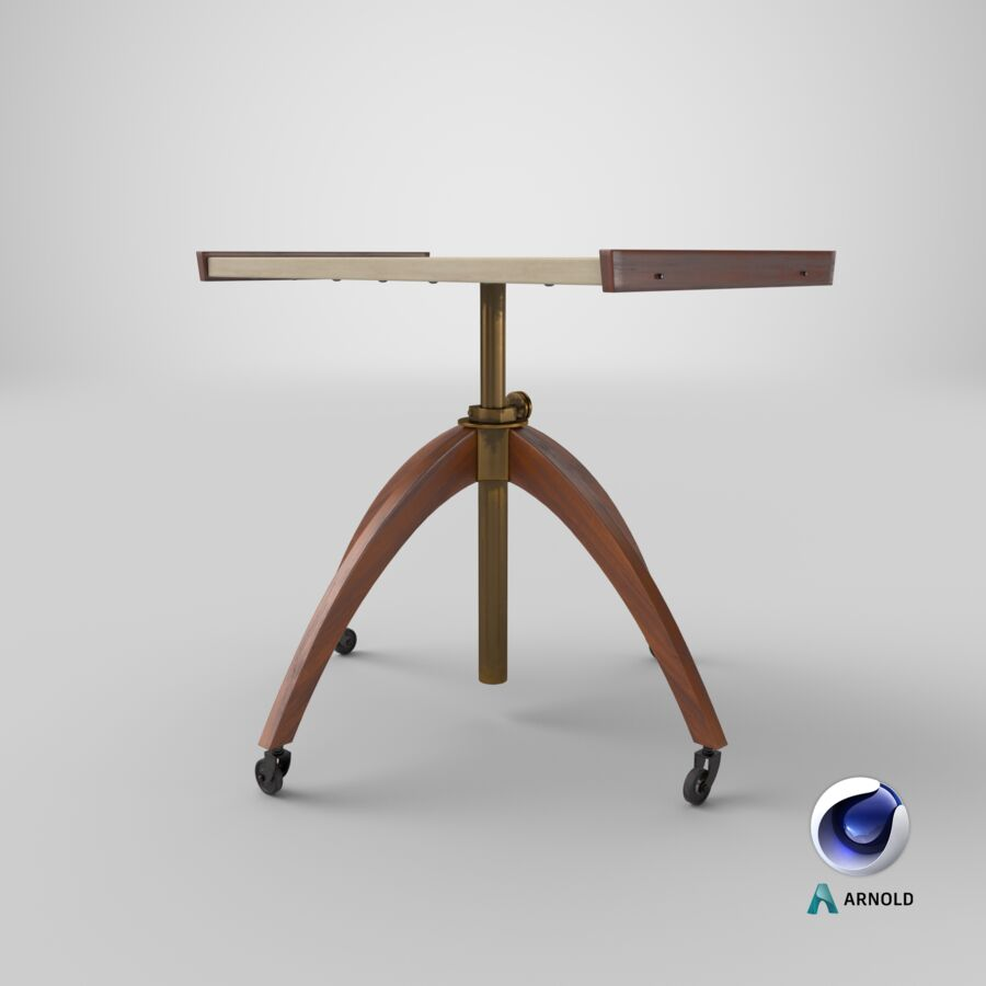 Vintage Adjustable TV Stand royalty-free 3d model - Preview no. 17