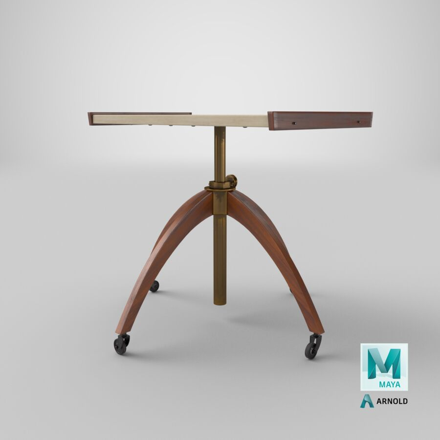 Vintage Adjustable TV Stand royalty-free 3d model - Preview no. 26