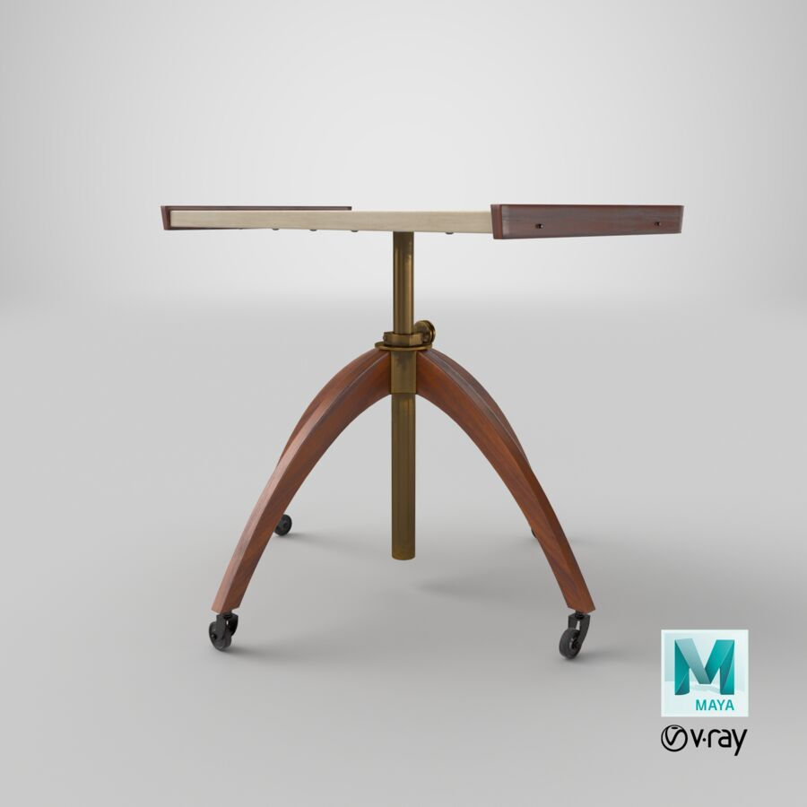 Vintage Adjustable TV Stand royalty-free 3d model - Preview no. 28