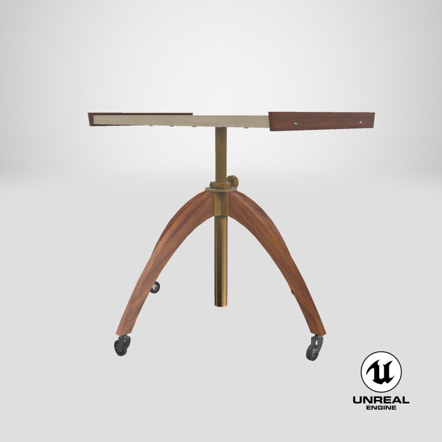 Vintage Adjustable TV Stand royalty-free 3d model - Preview no. 22