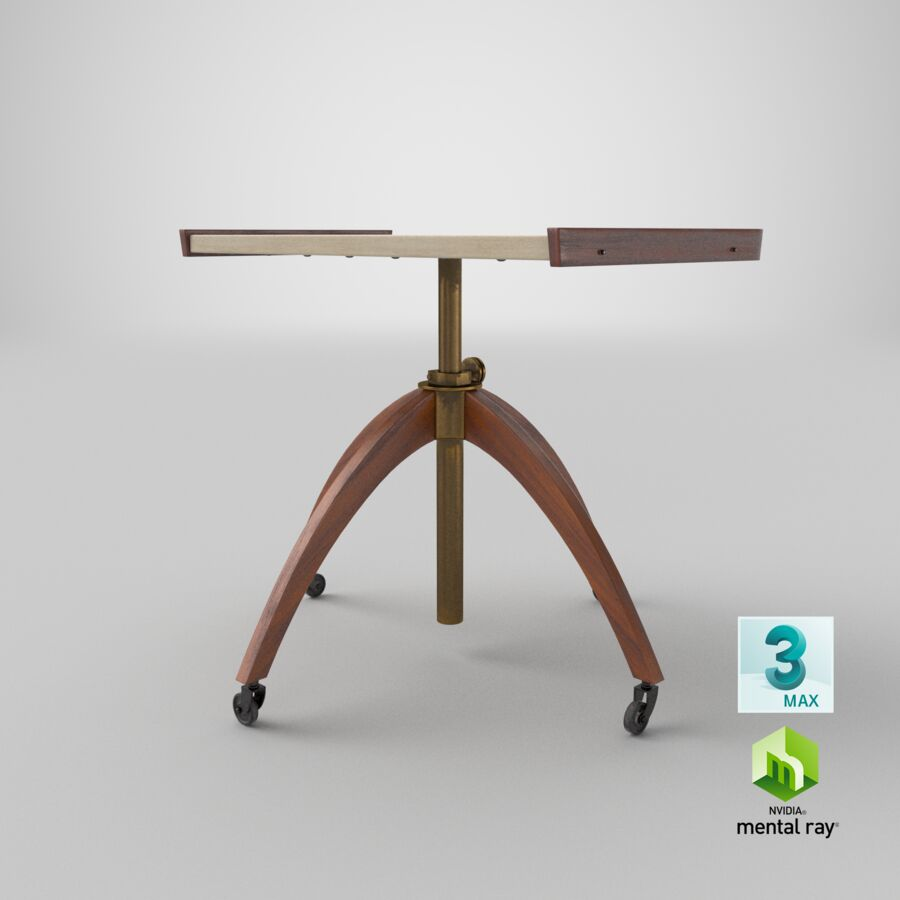 Vintage Adjustable TV Stand royalty-free 3d model - Preview no. 24