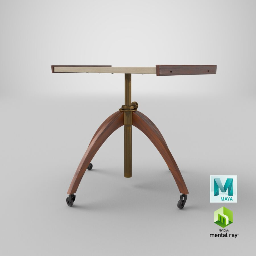 Vintage Adjustable TV Stand royalty-free 3d model - Preview no. 27