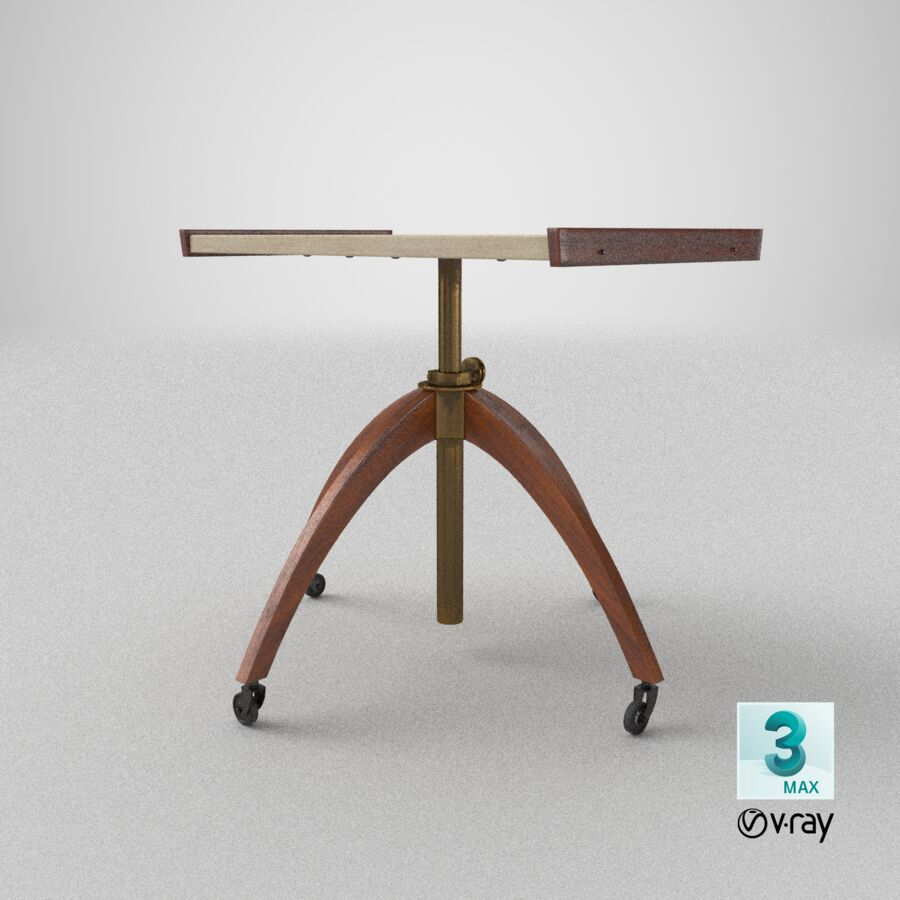 Vintage Adjustable TV Stand royalty-free 3d model - Preview no. 25
