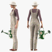 Cinema 4D用にリギングされた高齢者の女性ファーマー 3d model