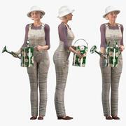 マヤのために装備された高齢者の女性農家 3d model