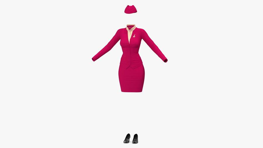 Maroon Stewardess Uniform royalty-free 3d model - Preview no. 2