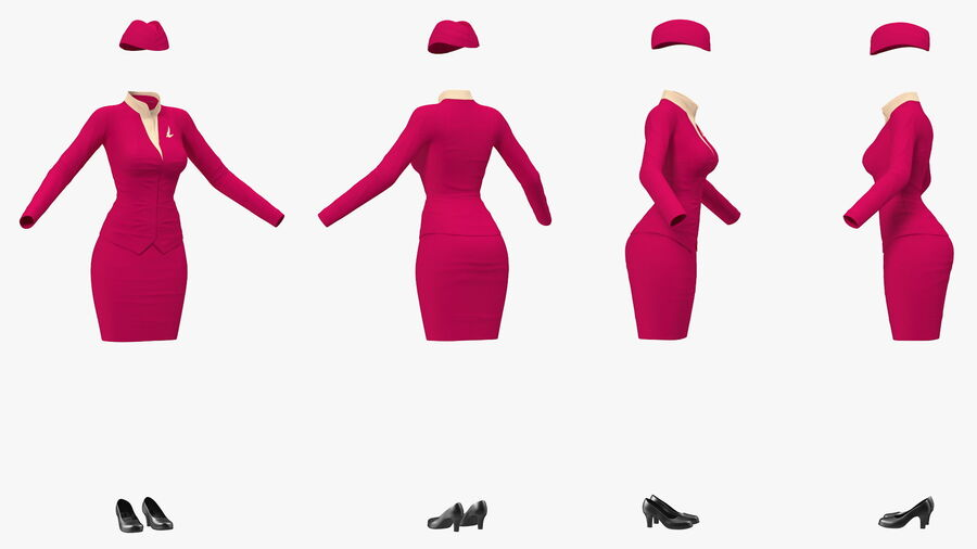 Maroon Stewardess Uniform royalty-free 3d model - Preview no. 8