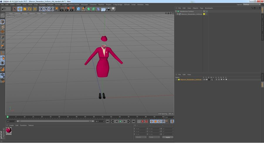 Maroon Stewardess Uniform royalty-free 3d model - Preview no. 16
