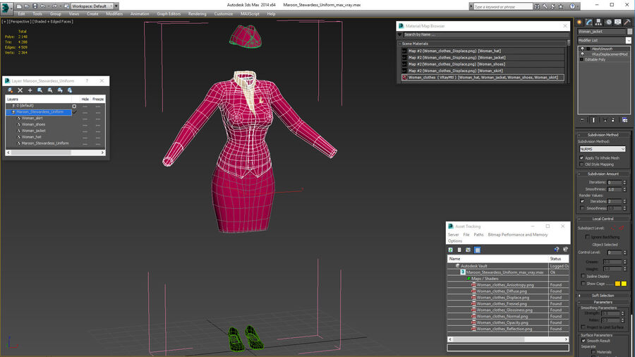 Maroon Stewardess Uniform royalty-free 3d model - Preview no. 22