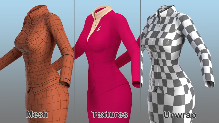 Maroon Stewardess Uniform royalty-free 3d model - Preview no. 13