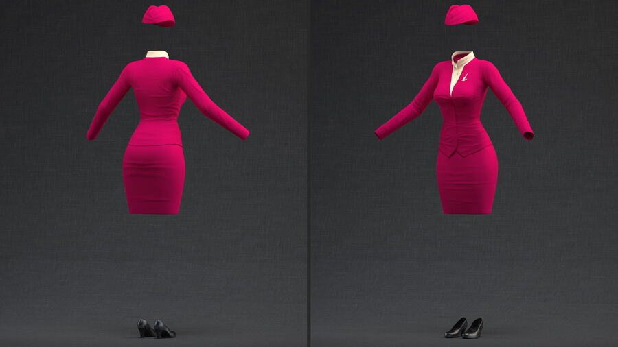 Maroon Stewardess Uniform royalty-free 3d model - Preview no. 3