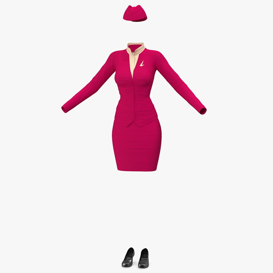 Maroon Stewardess Uniform royalty-free 3d model - Preview no. 1