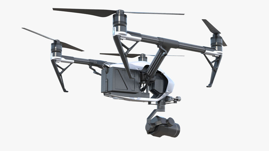 DJI Inspire 2 with Zenmuse X7 Camera royalty-free 3d model - Preview no. 8