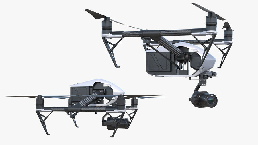 DJI Inspire 2 with Zenmuse X7 Camera royalty-free 3d model - Preview no. 9
