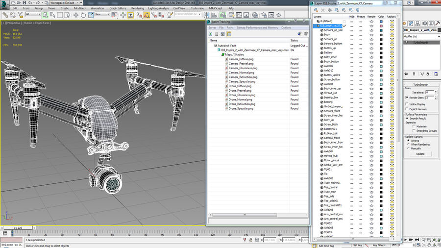 DJI Inspire 2 with Zenmuse X7 Camera royalty-free 3d model - Preview no. 19