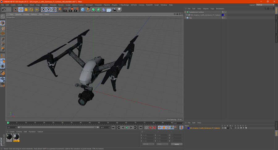 DJI Inspire 2 with Zenmuse X7 Camera royalty-free 3d model - Preview no. 20