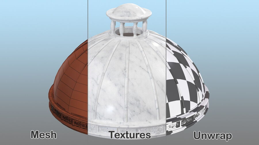 Antique Marble Dome royalty-free 3d model - Preview no. 12