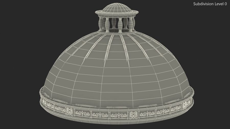 Antique Marble Dome royalty-free 3d model - Preview no. 13