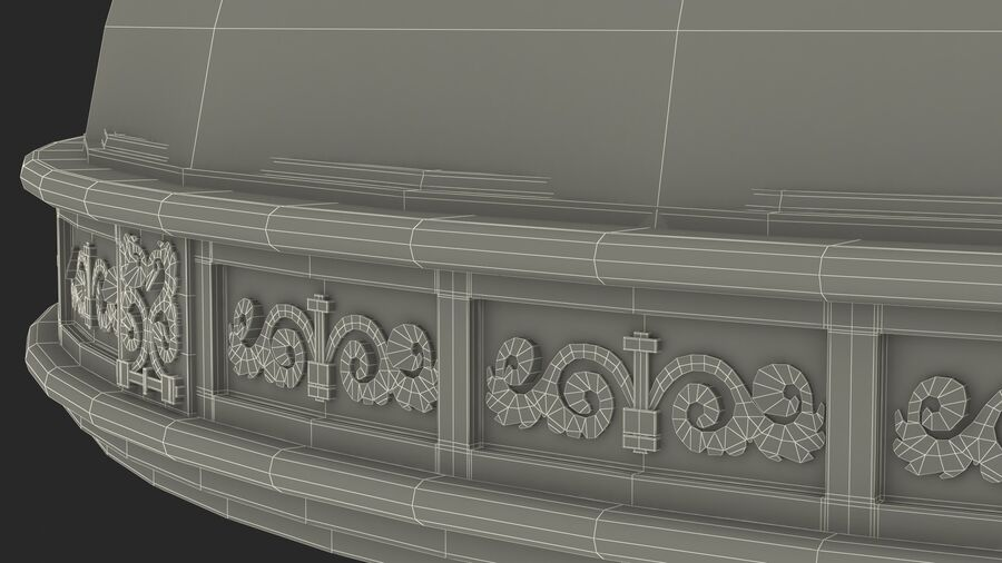 Antique Marble Dome royalty-free 3d model - Preview no. 23