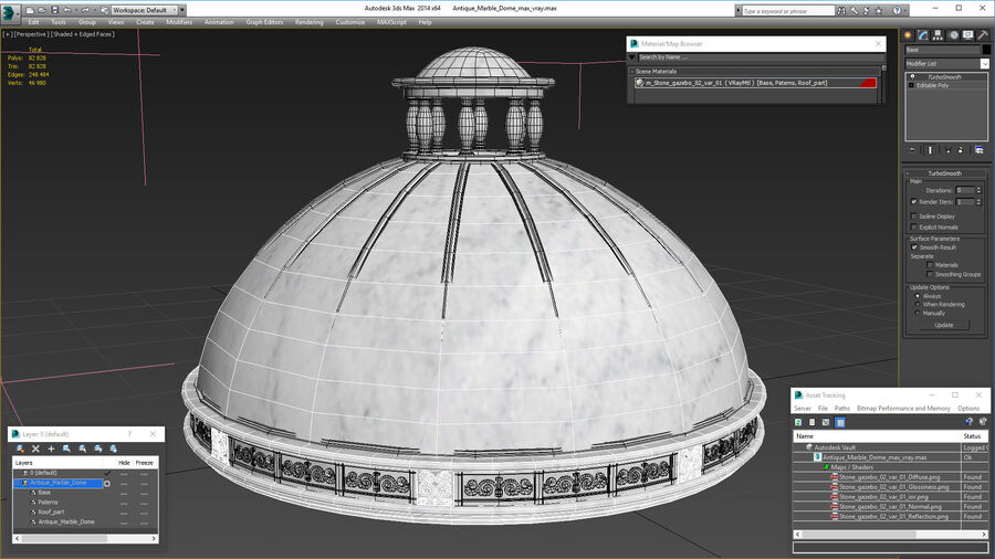 Antique Marble Dome royalty-free 3d model - Preview no. 17