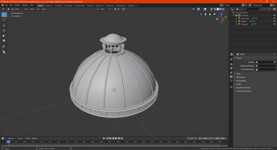 Antique Marble Dome royalty-free 3d model - Preview no. 20